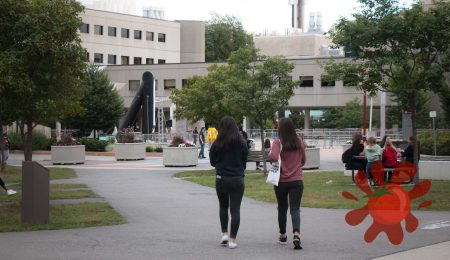 students on the U of O campus