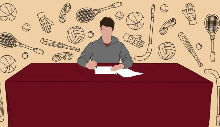 athlete signing his commitment papers