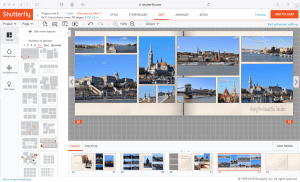 Screenshot of Shutterfly book editing