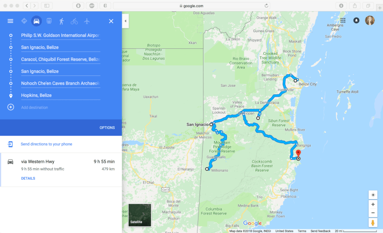 Google Maps screenshot of vacation route in Belize