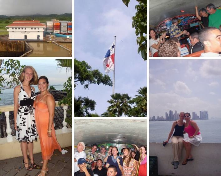 Collage of Panama photos, including canal, flag, shiva party bus, and group shots