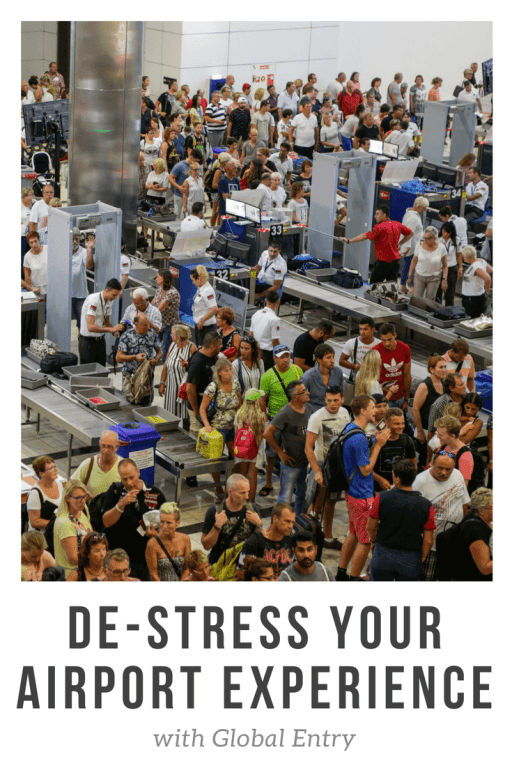 Article graphic with photo of masses of people going through airport security.
