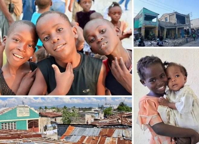 Collage of photos of Haitian children