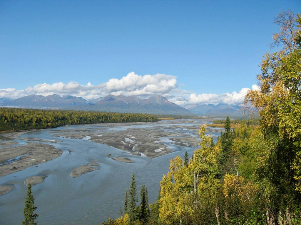 Braided river and mountains