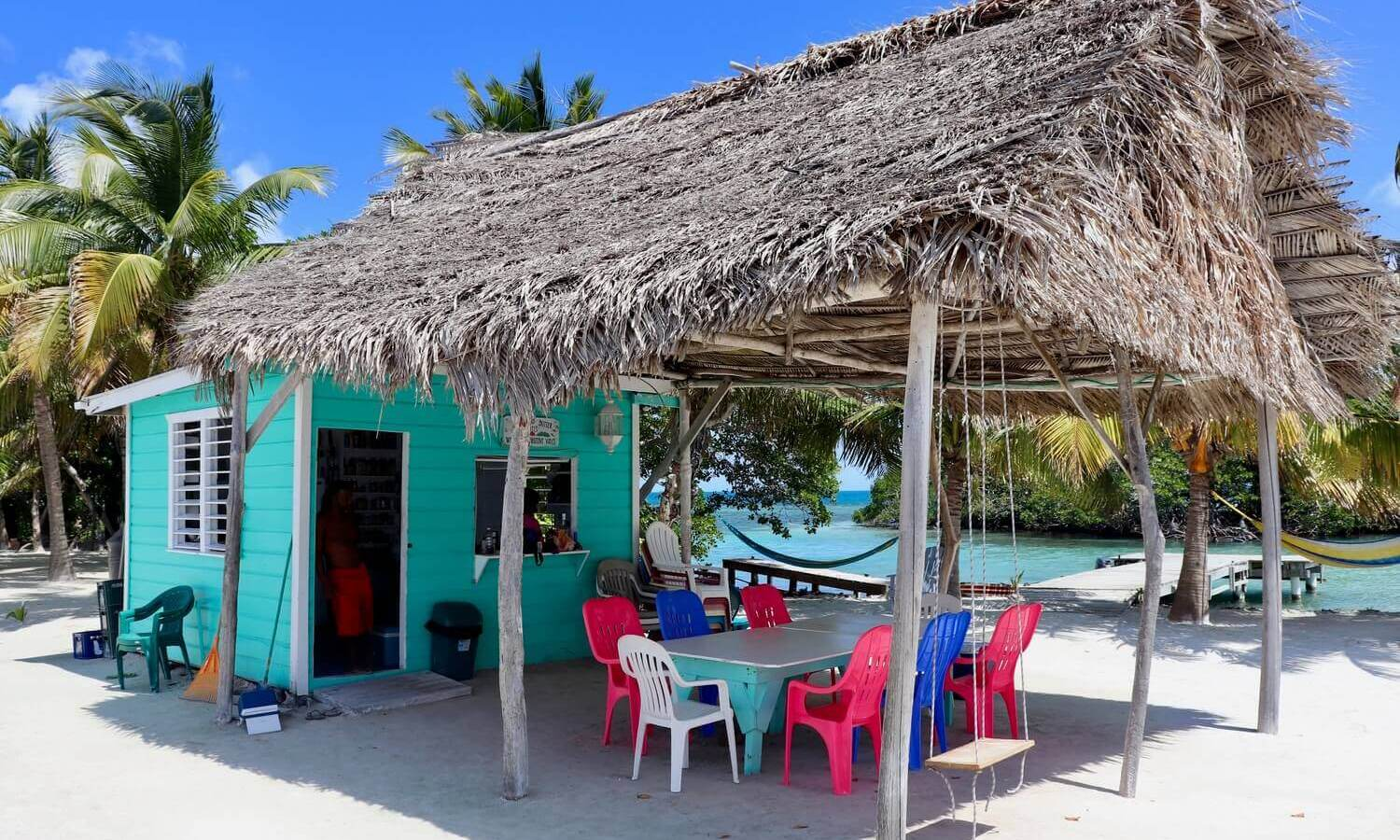 Thatch-Roofed Hut on Bread and Butter Caye