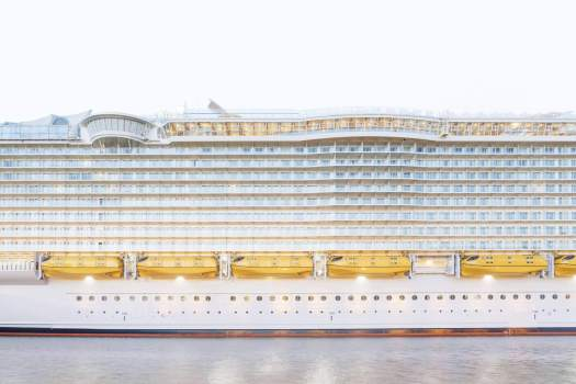Side view of massive cruise ship