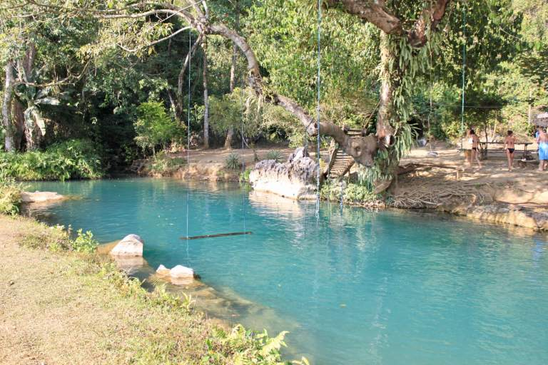 Blue Lagoon water with swing