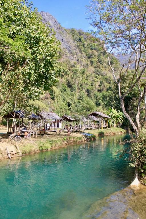 Huts along Blue Lagoon water