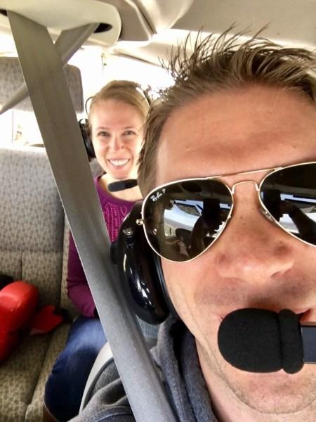 M and Gwen mid-flight selfie