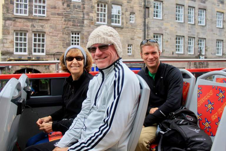 M and his parents on the open-air bus. Our week in Scotland itinerary included some impromptu additions!