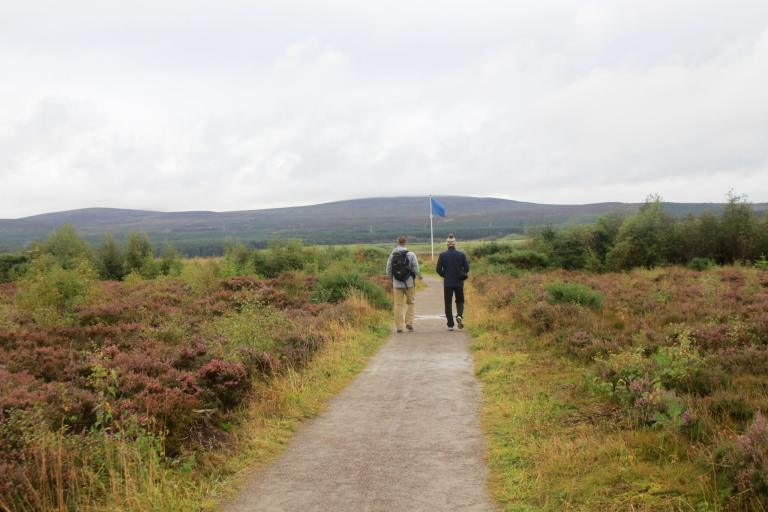M and his dad walk the paths of Culloden