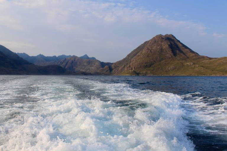 Looking back on the imposing mountains protecting Loch Coruisk