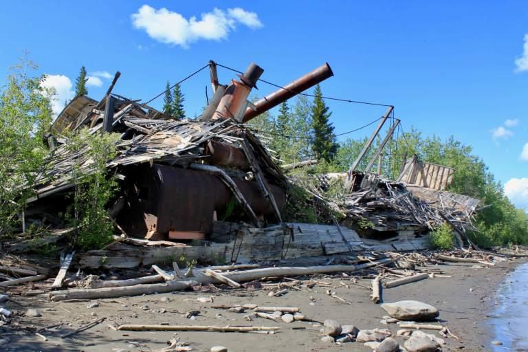 Sternwheeler wreckage along the banks of the Yukon