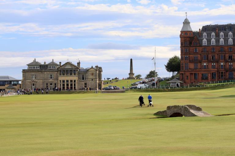 Golfers on 18th hole with Swilcan Bridge in foreground. St. Andrews was one of my in-laws' favorite stops on our week in Scotland itinerary.