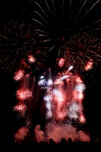 Red and white fireworks exploding at night