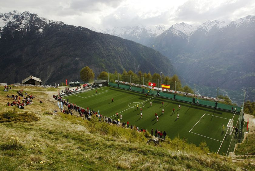 Soccer pitch in the Swiss Alps