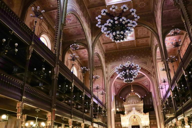 Synagogue interior with chandeliers