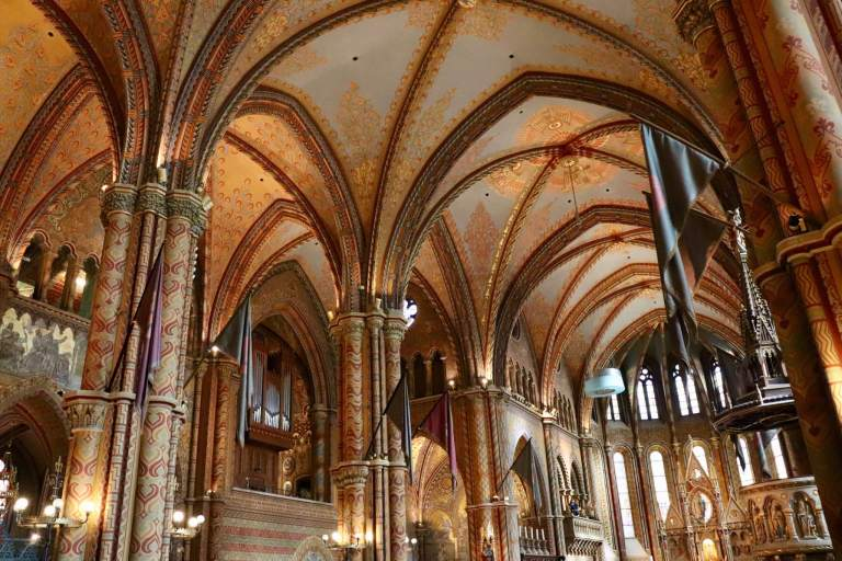 Ceilings, columns, and details of Matthias Church interior