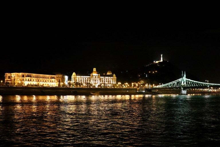 Sights along the Danube during our dinner cruise, including the Hotel Gellert, Elisabeth Bridge, and Liberty Monument