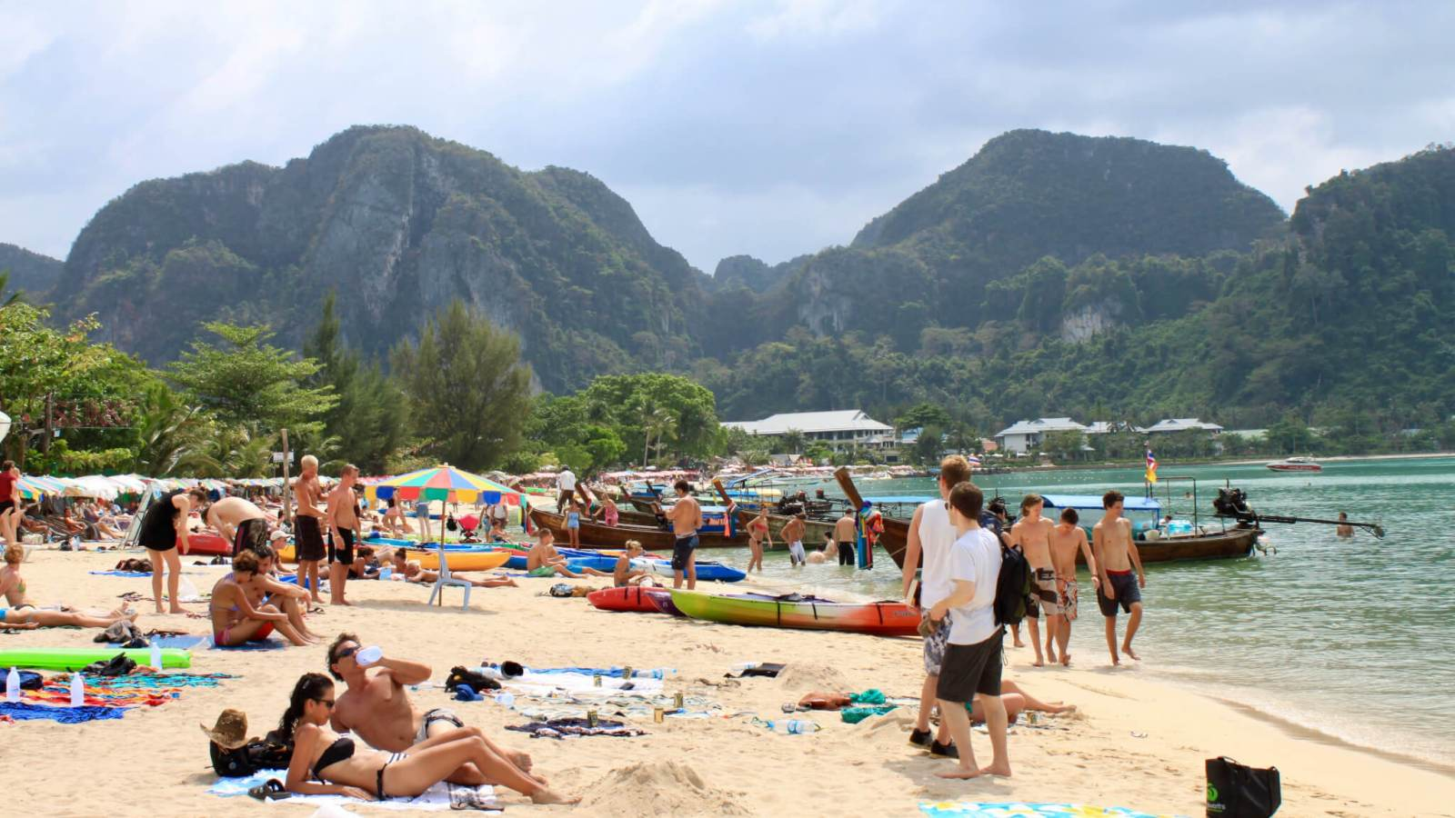 Crowded beach at Koh Phi Phi