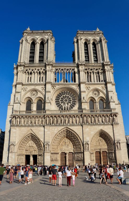 The facade of Notre Dame Cathedral photographed pre-fire during our 2018 short trip to Paris