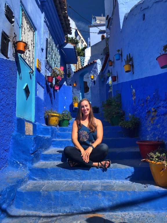 Michelle in the Blue Pearl city of Chefchaouen, Morocco