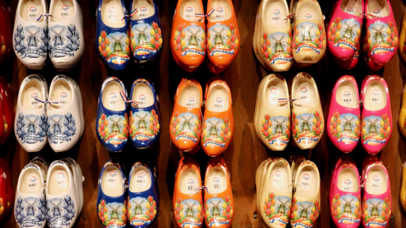 Colorful souvenir wooden shoes on display