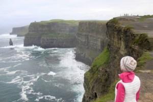 Gwen facing the Cliffs of Moher