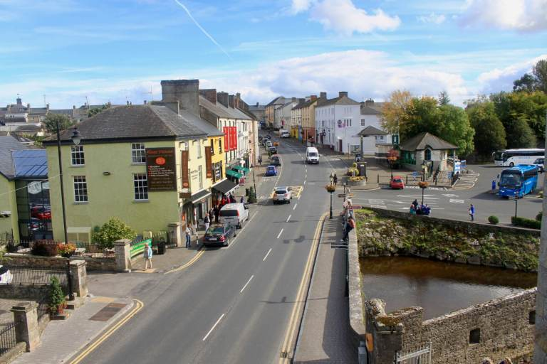 Town of Cahir with colorful buildings