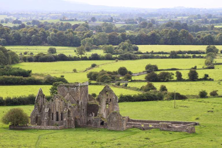 The ruins of Hore Abbey sitting in green fields
