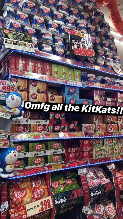 Colorful wall with dozens of KitKat flavors