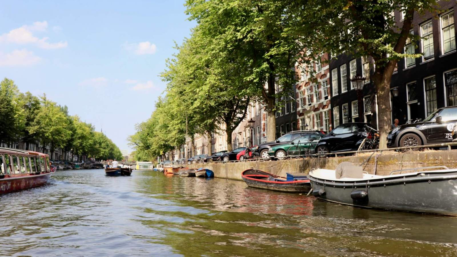 Row houses shaded by leafy trees along the canals in in Amsterdam