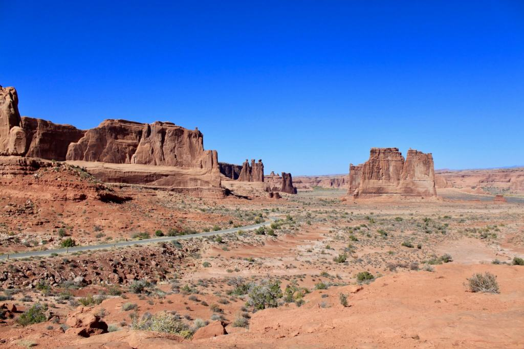 Road traveling through the desert in Arches National Park