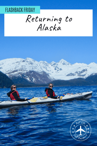 Article graphic featuring Gwen and a friend kayaking in front of snow-capped mountains