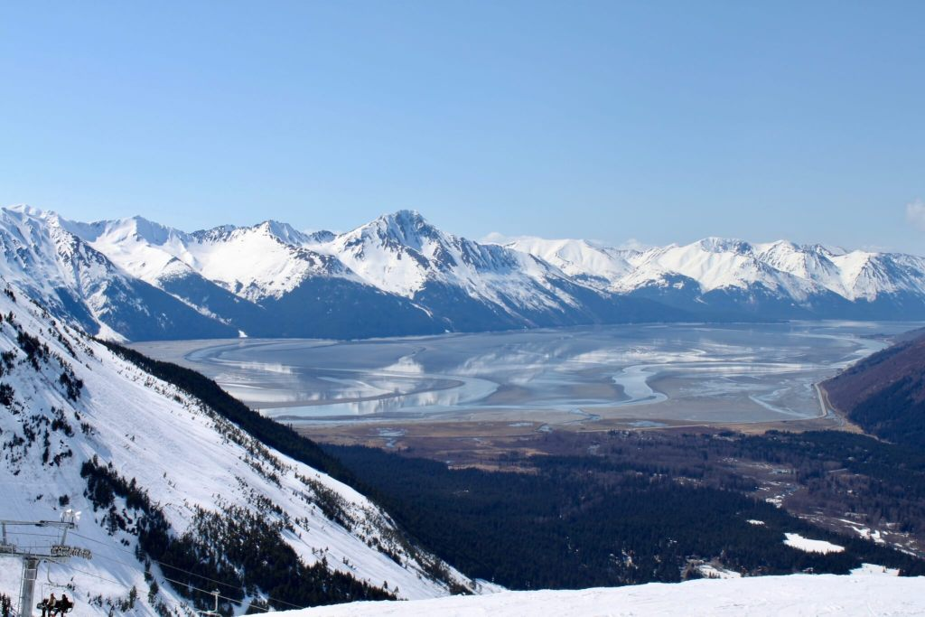 Snow-capped mountains ringing the Turnagain Arm in Alaska
