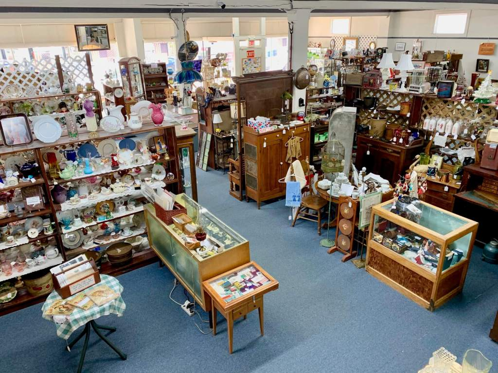 Interior of an antique shop filled with knickknacks and wares