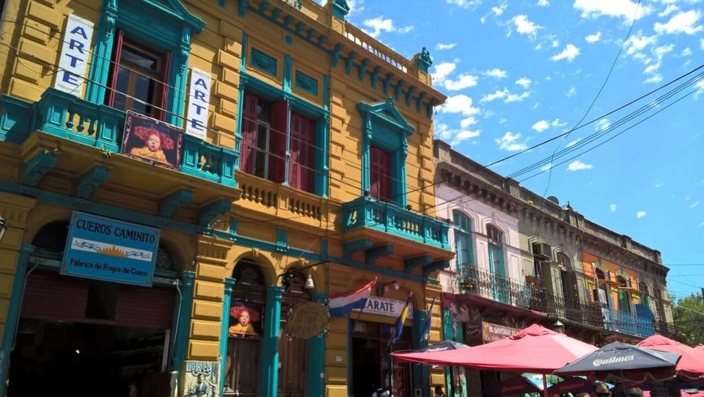 Colorful buildings in the La Boca neighborhood of Buenos Aires, Argentina