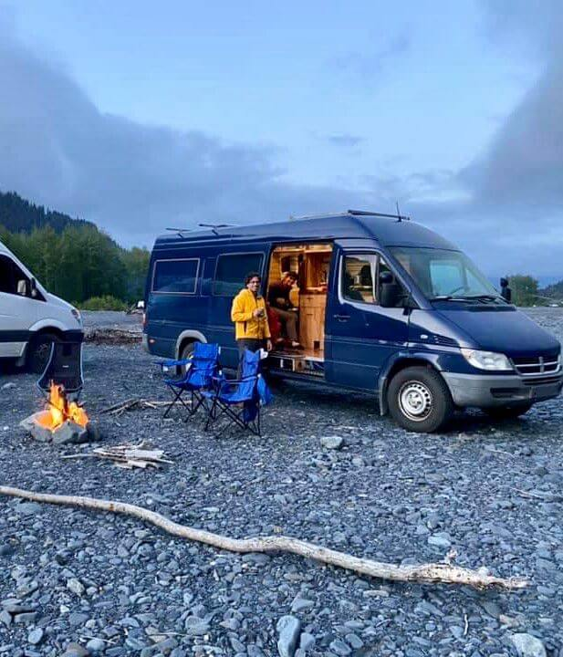 Megan and her fiancé's campervan - their home on the road.