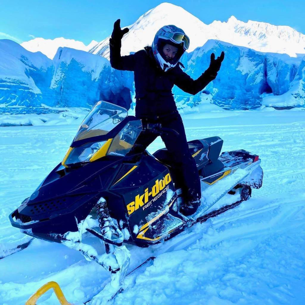 While on a travel nurse assignment in Alaska, Megan got to do have lots of exciting adventures like snow-machining.