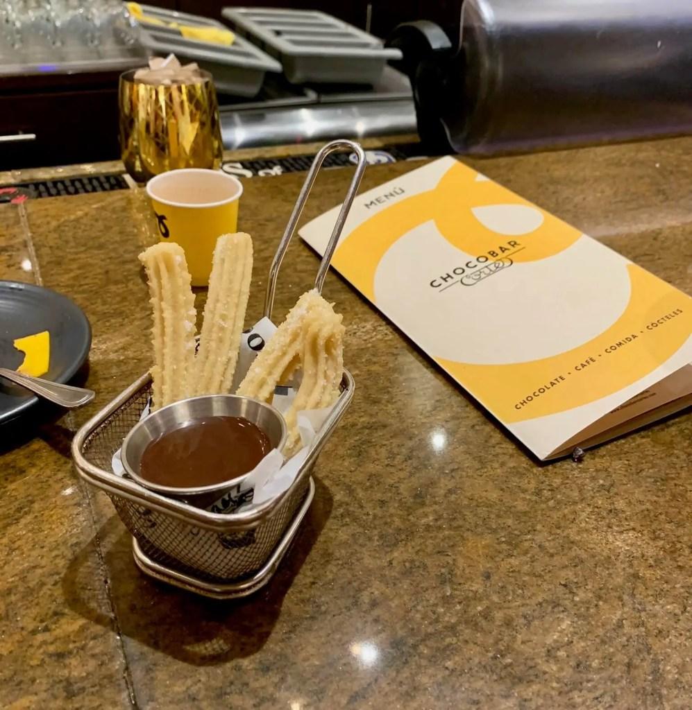 Churros and chocolate sauce at ChocoBar