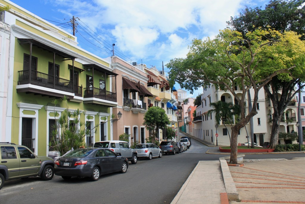 Colorful buildings on a square in Old San Juan
