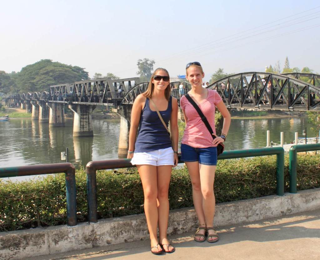 Gwen and her friend Katie visiting the Bridge on the River Kwai in 2011