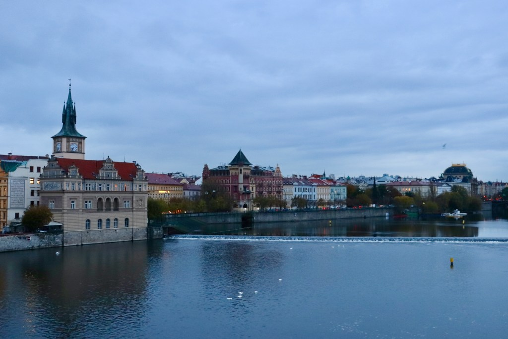 Another view of the Prague riverfront with colors visible
