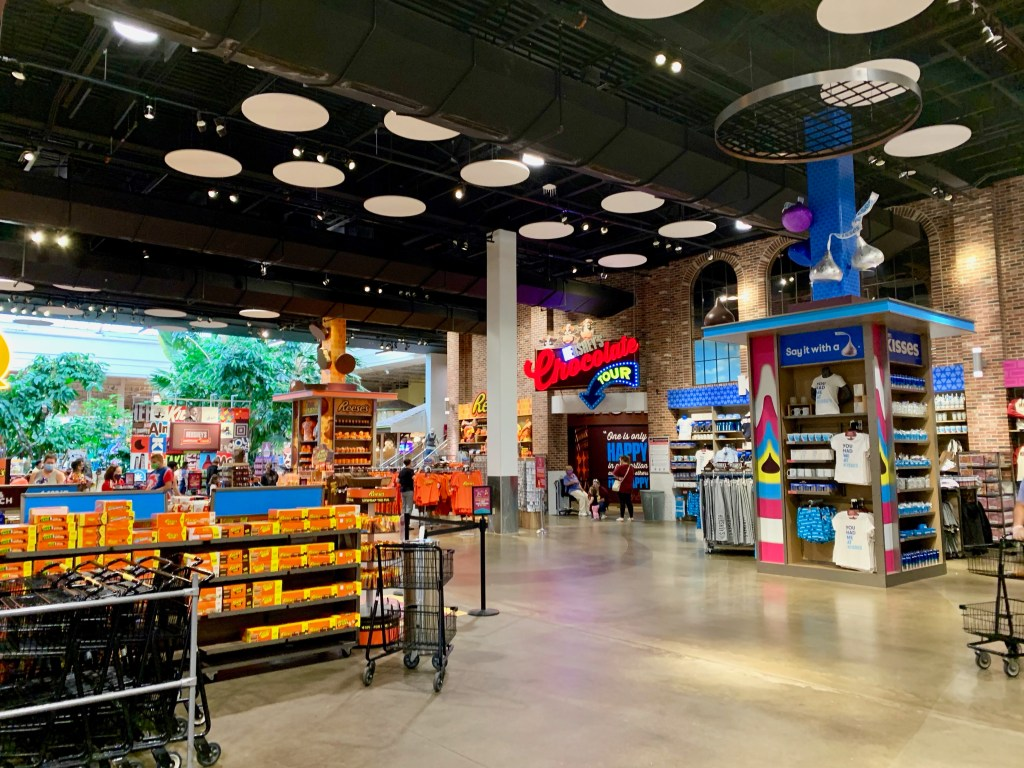 Colorful interior of Hershey's Chocolate World