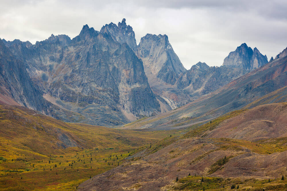Jagged, rocky mountains in Tombstone Territorial Park