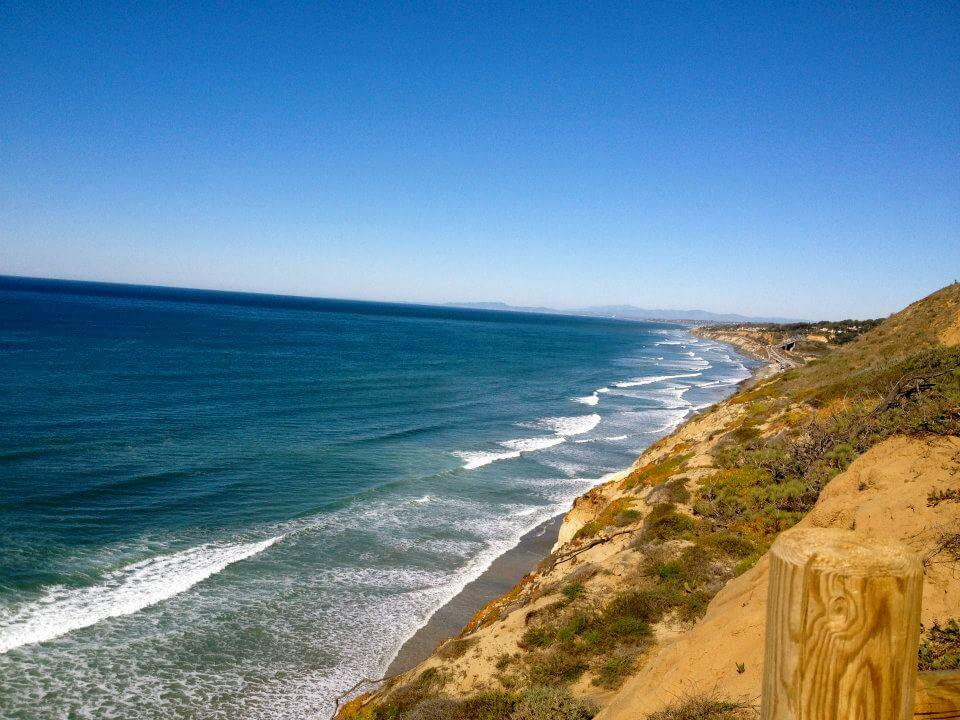 The ocean and cliffs at Torrey Pines, one of the best hikes in San Diego