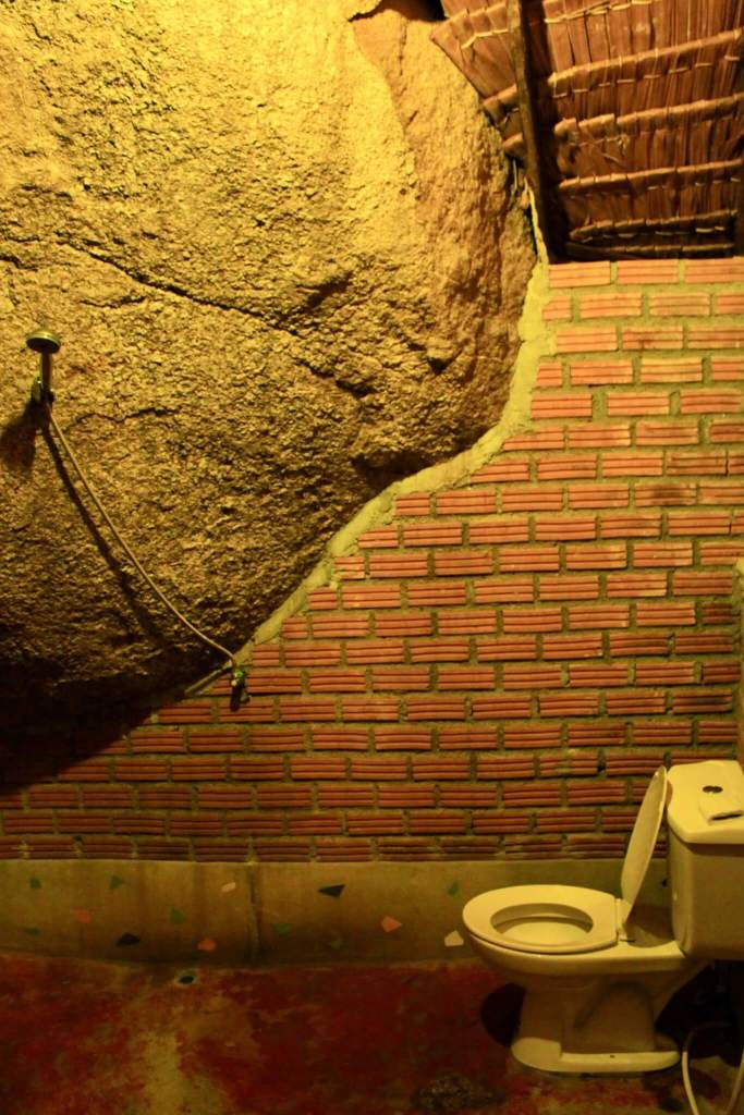 Giant boulder with showerhead hanging off and toilet beside