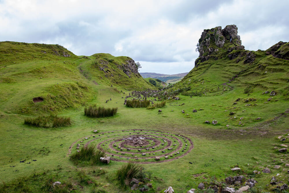 The Fairy Glen with a stone circle in the foreground