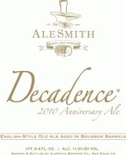 AleSmith Barrel Aged Decadence 2010 Label