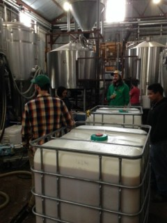 Racking Live Oak wort into a fermentation tank at Jester King